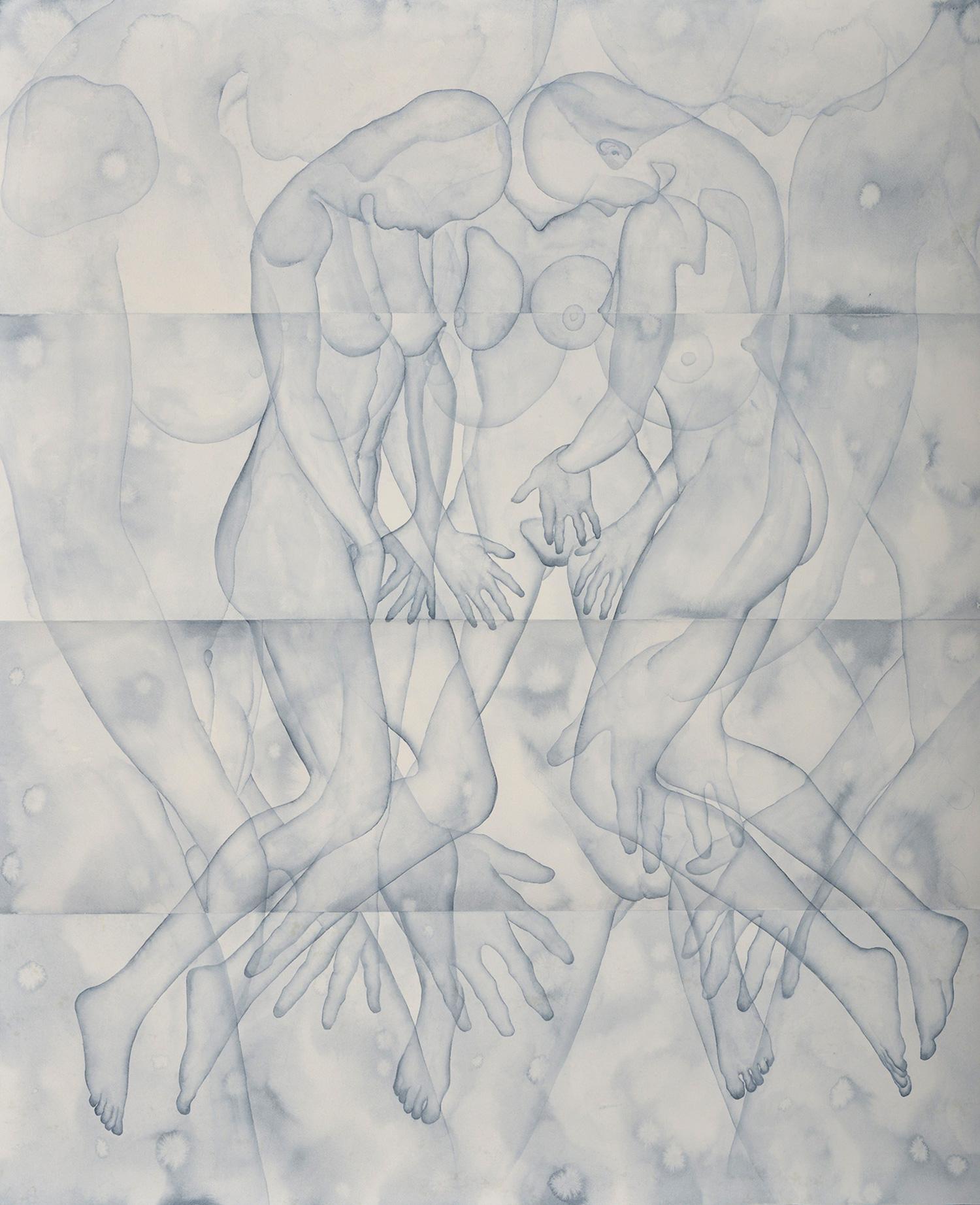 Stefano Bonzano, Mani, acquerello su carta applicato su due pannelli, 110x130 cm, 2019.