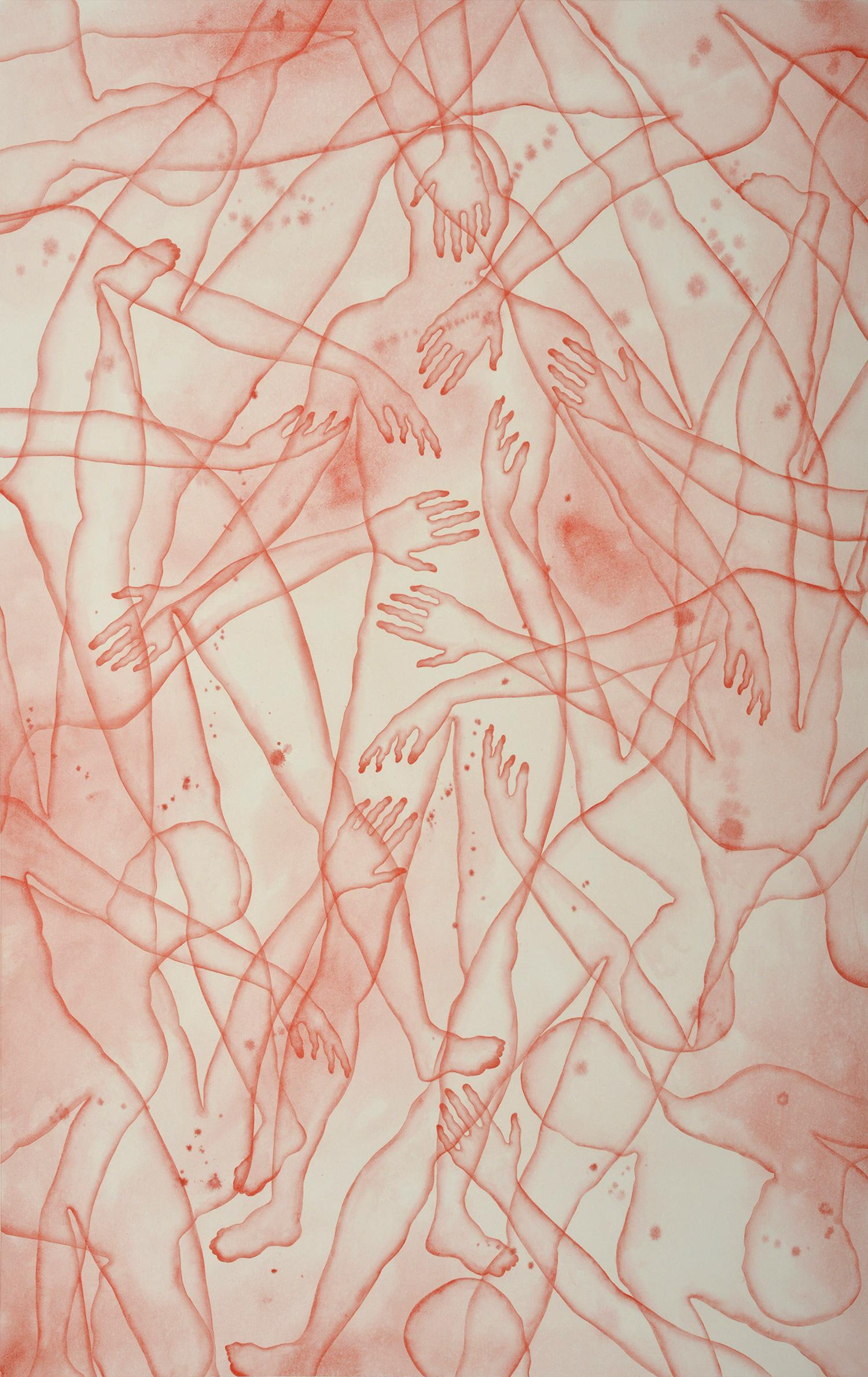 Stefano Bolzano, Co-esistenza sentimentale, acquerello su carta, 86x135 cm, 2020.