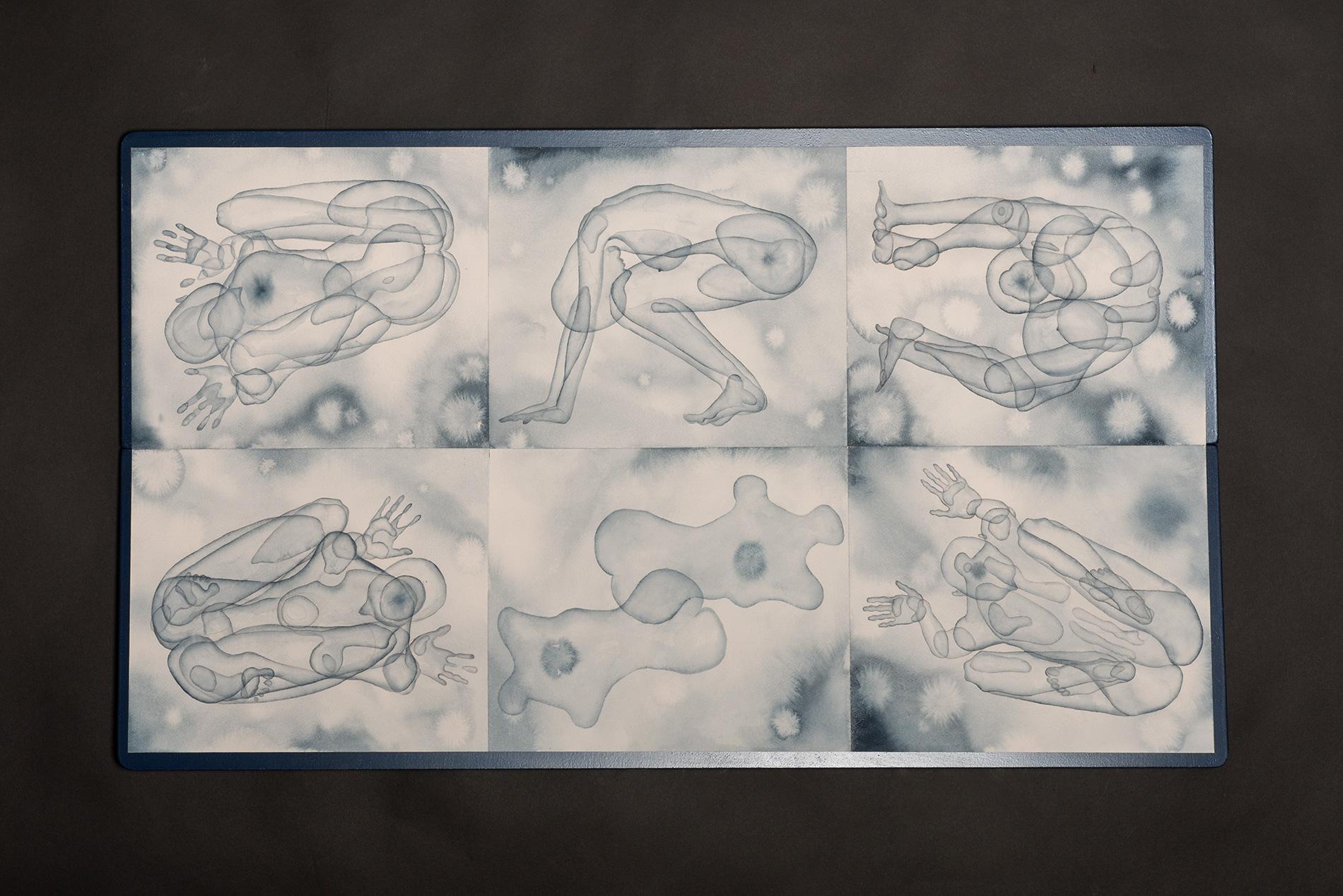 Stefano Bolzano, Morfogenesi emotiva 01, acquerello su carta applicato su due pannelli, 61x108,5 cm, 2019.