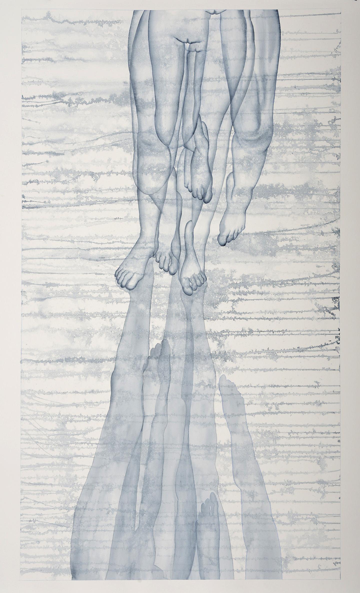 Stefano Bolzano, Stacco, acquerello su carta, 150x90cm, 2020.