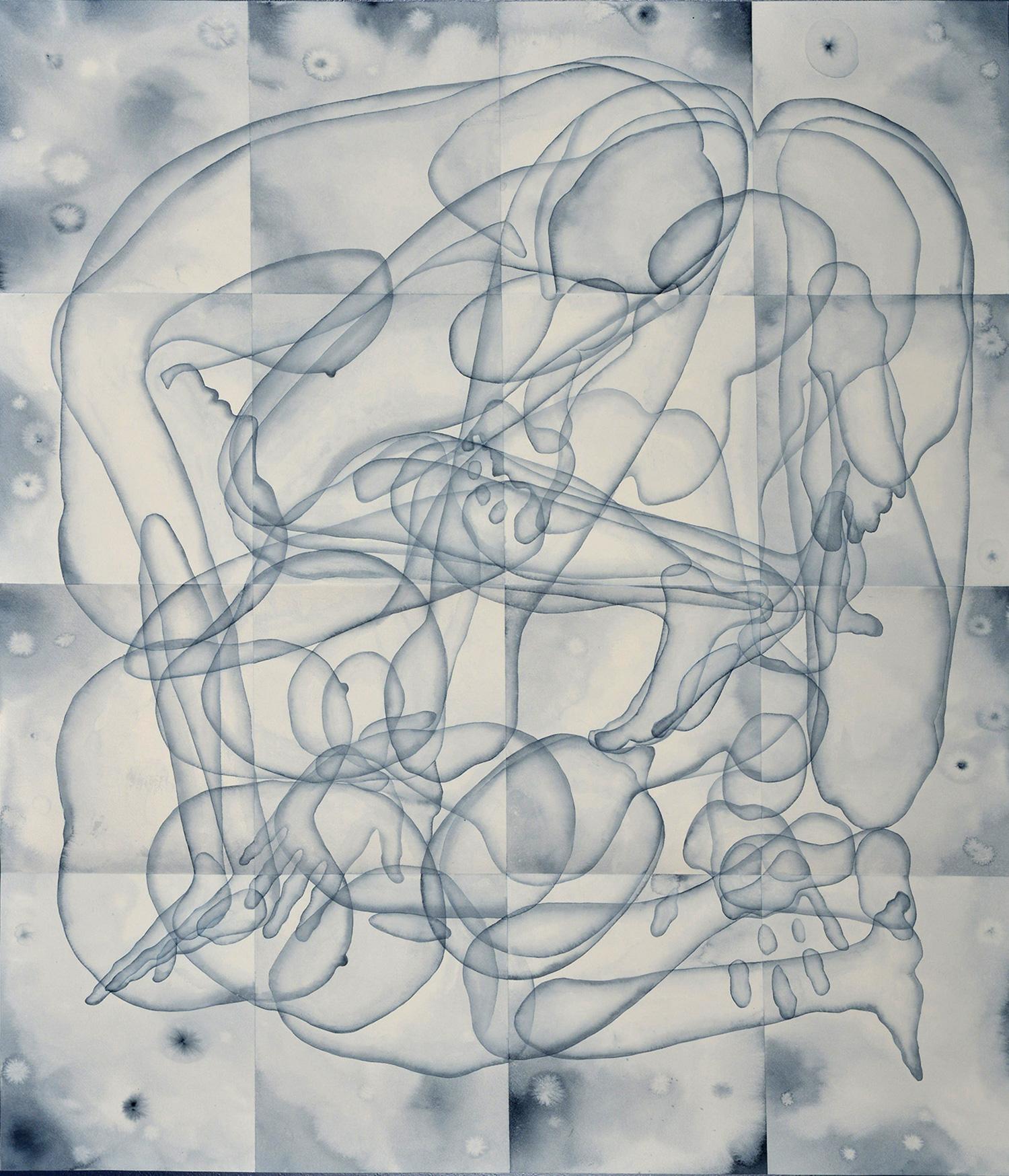 Stefano Bolzano, Eterogenesi e metamorfosi 01, acquerello su carta applicato su due pannelli, 110,5x95 cm, 2020.