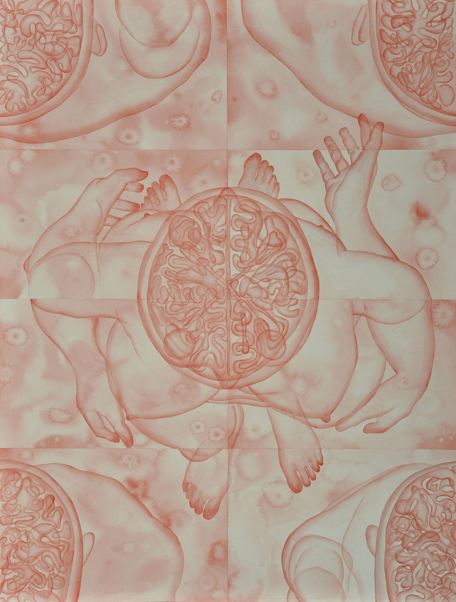 Stefano Bolzano, Evoluzione sentimentale, acquerello su carta applicato su due pannelli, 84x111 cm, 2019.