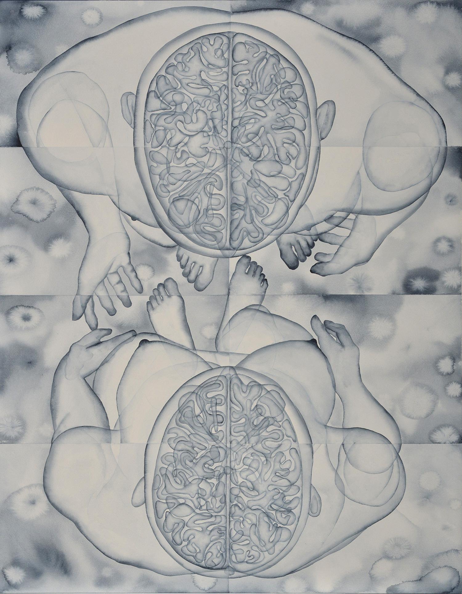 Stefano Bonzano, Fisiognomica sentimentale, acquerello su carta applicato su due pannelli, 84,5x112 cm, 2019.