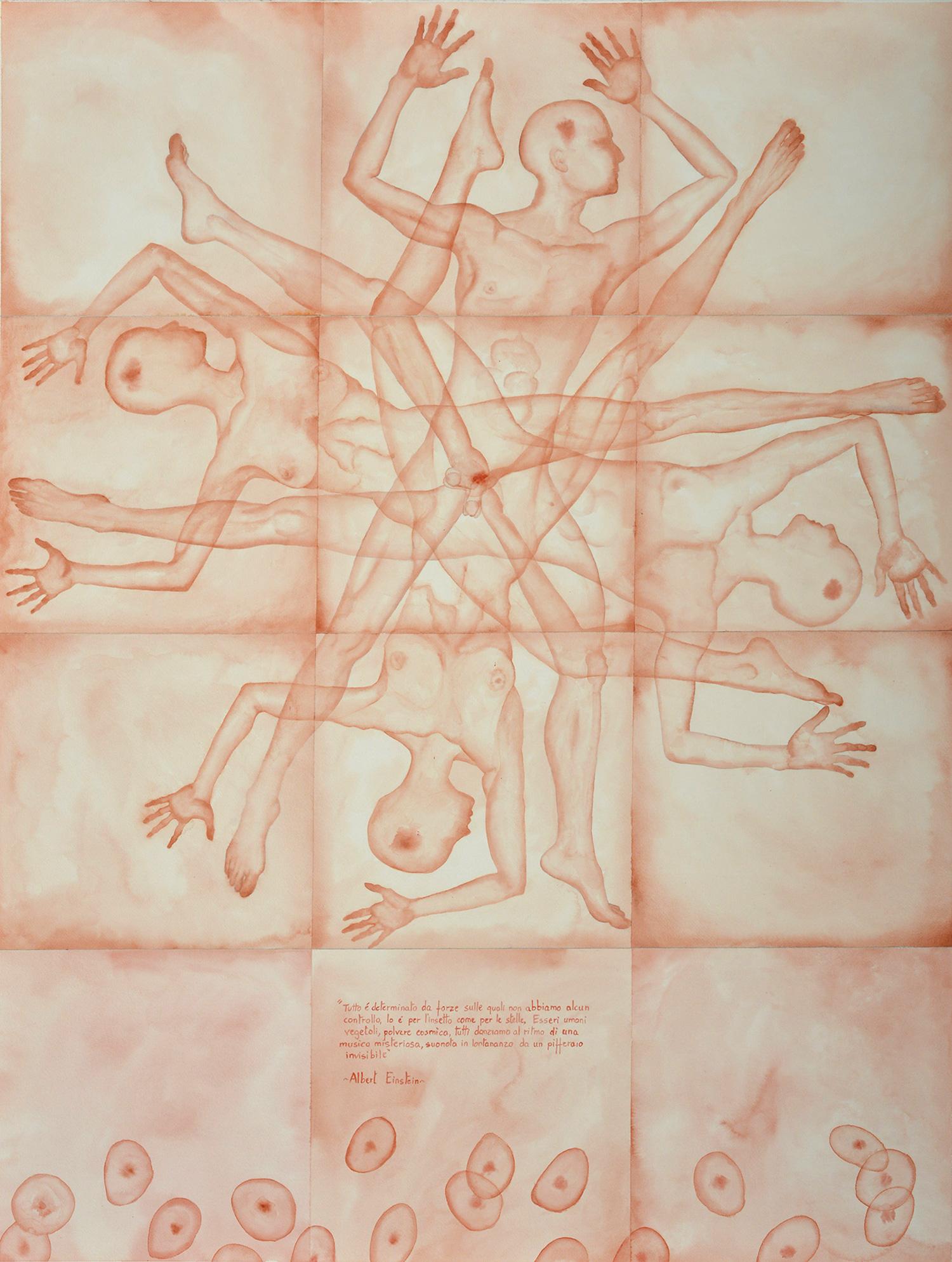 Stefano Bonzano, Forze emotive 02, acquerello su carta applicato su due pannelli, 2019.