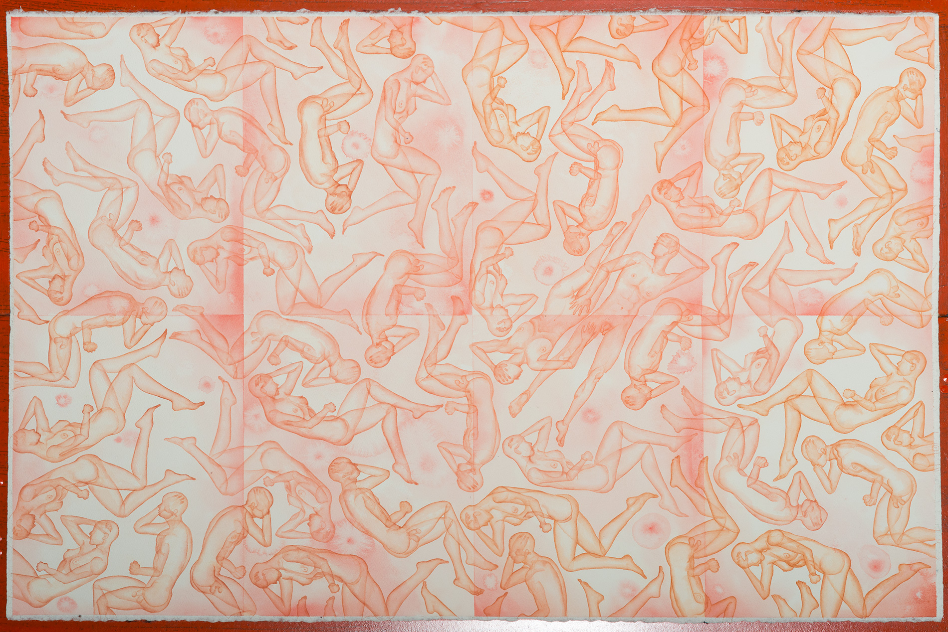Stefano Bonzano, Omeostasi emotiva, acquerello su carta applicato su due pannelli, 65x105 cm, 2019.