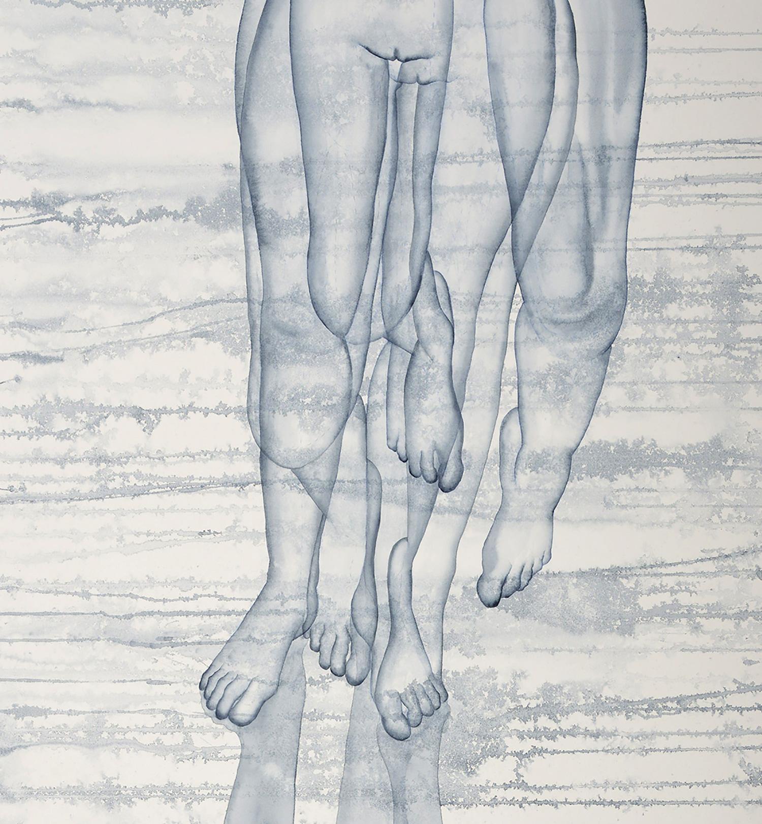 Stefano Bolzano, Stacco, acquerello su carta, 150x90cm, 2020 (dettaglio).