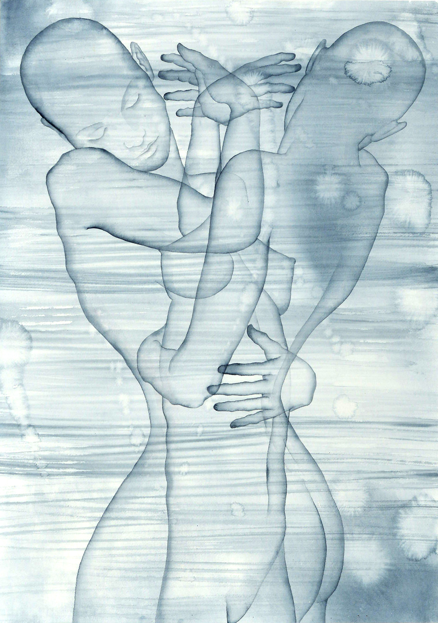 Stefano Bolzano, Corpo e coscienza, acquerello su carta, 48x69 cm, 2020.