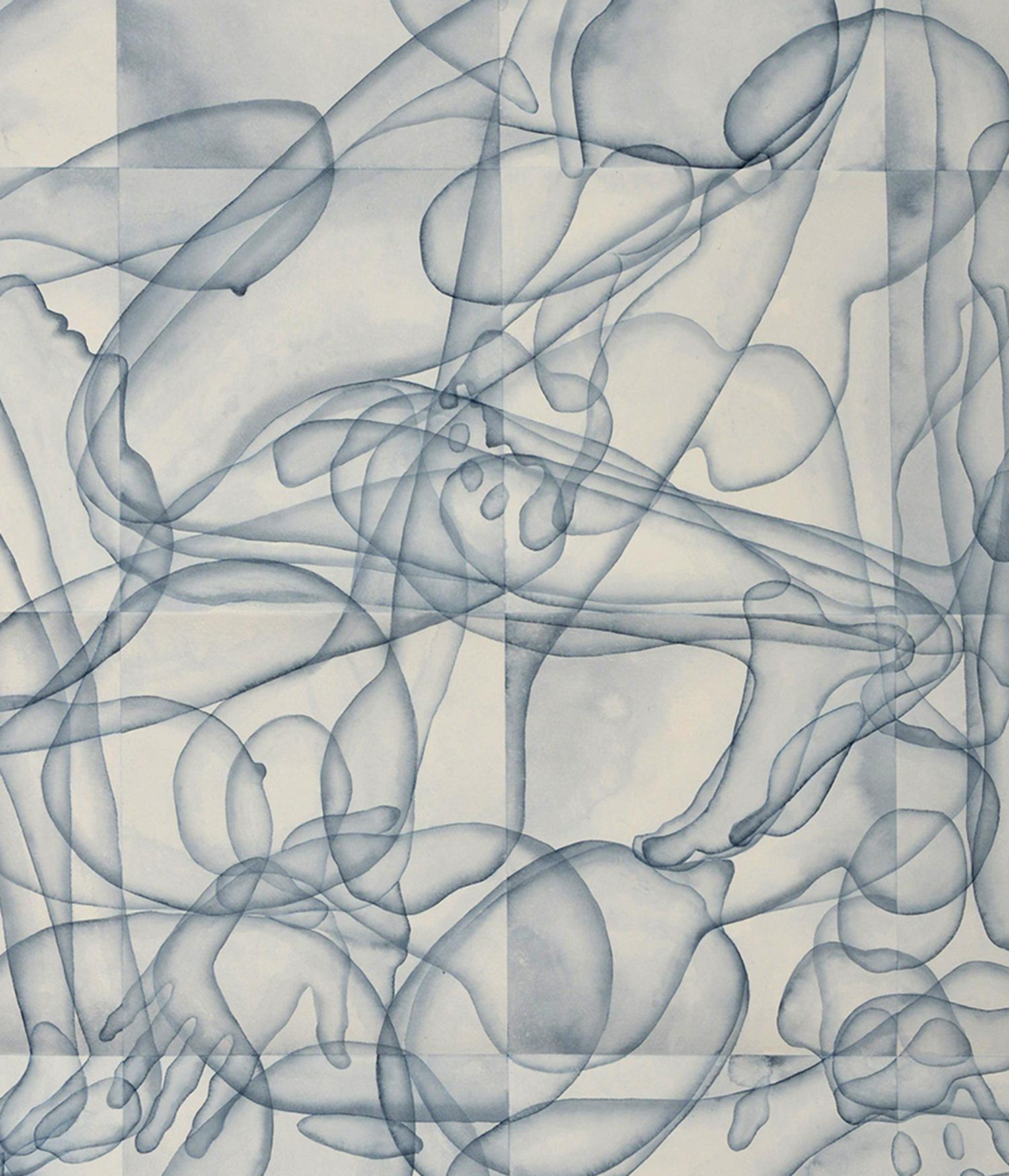 Stefano Bolzano, Eterogenesi e metamorfosi 01, acquerello su carta applicato su due pannelli, 110,5x95 cm, 2020 (dettaglio).