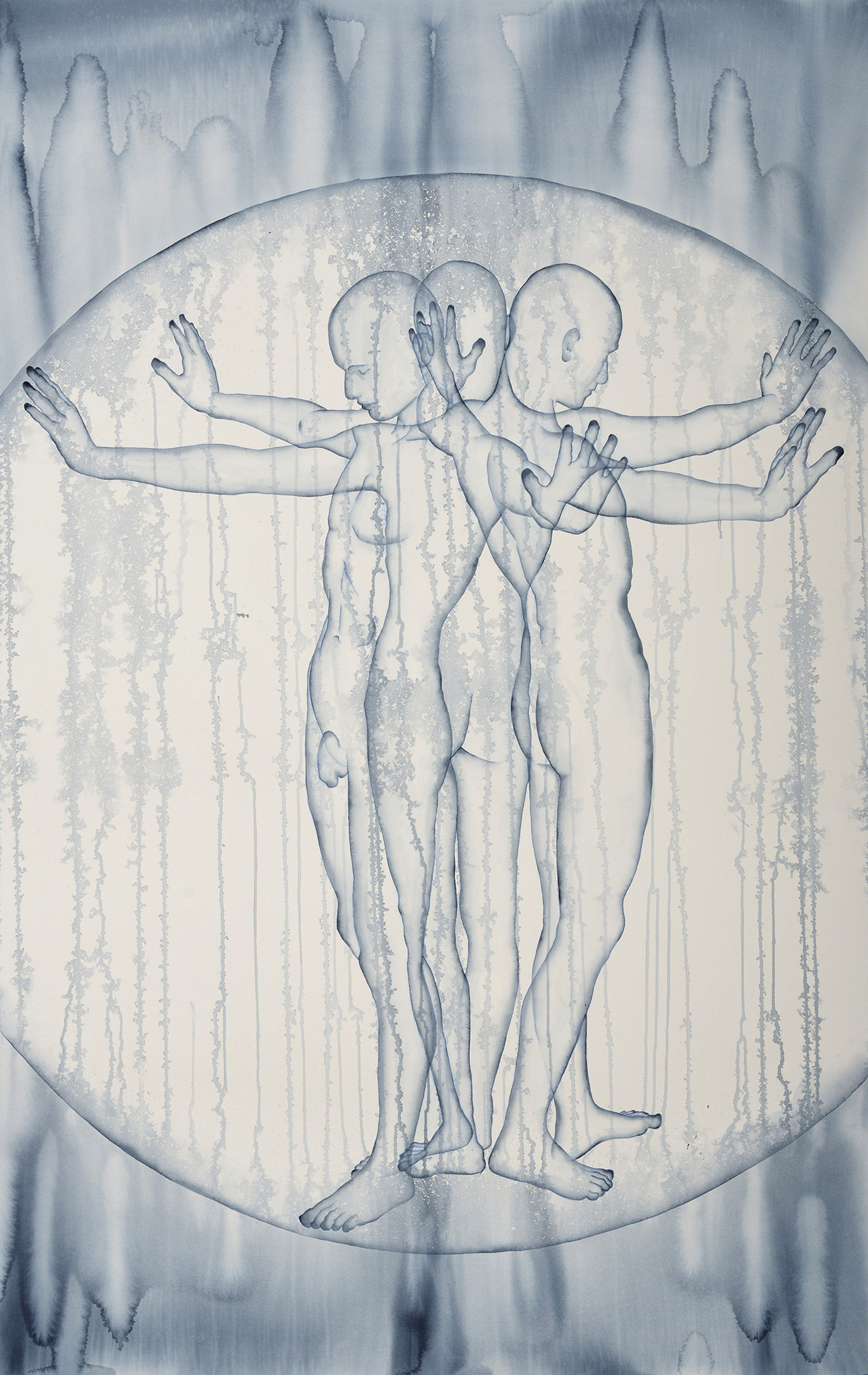 Stefano Bolzano, Aurea emotiva, acquarello su carta, 86x135 cm, 2020.