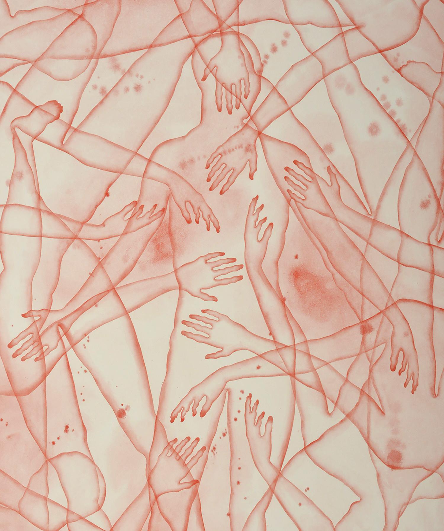 Stefano Bolzano, Co-esistenza sentimentale, acquerello su carta, 86x135 cm, 2020 (dettaglio).