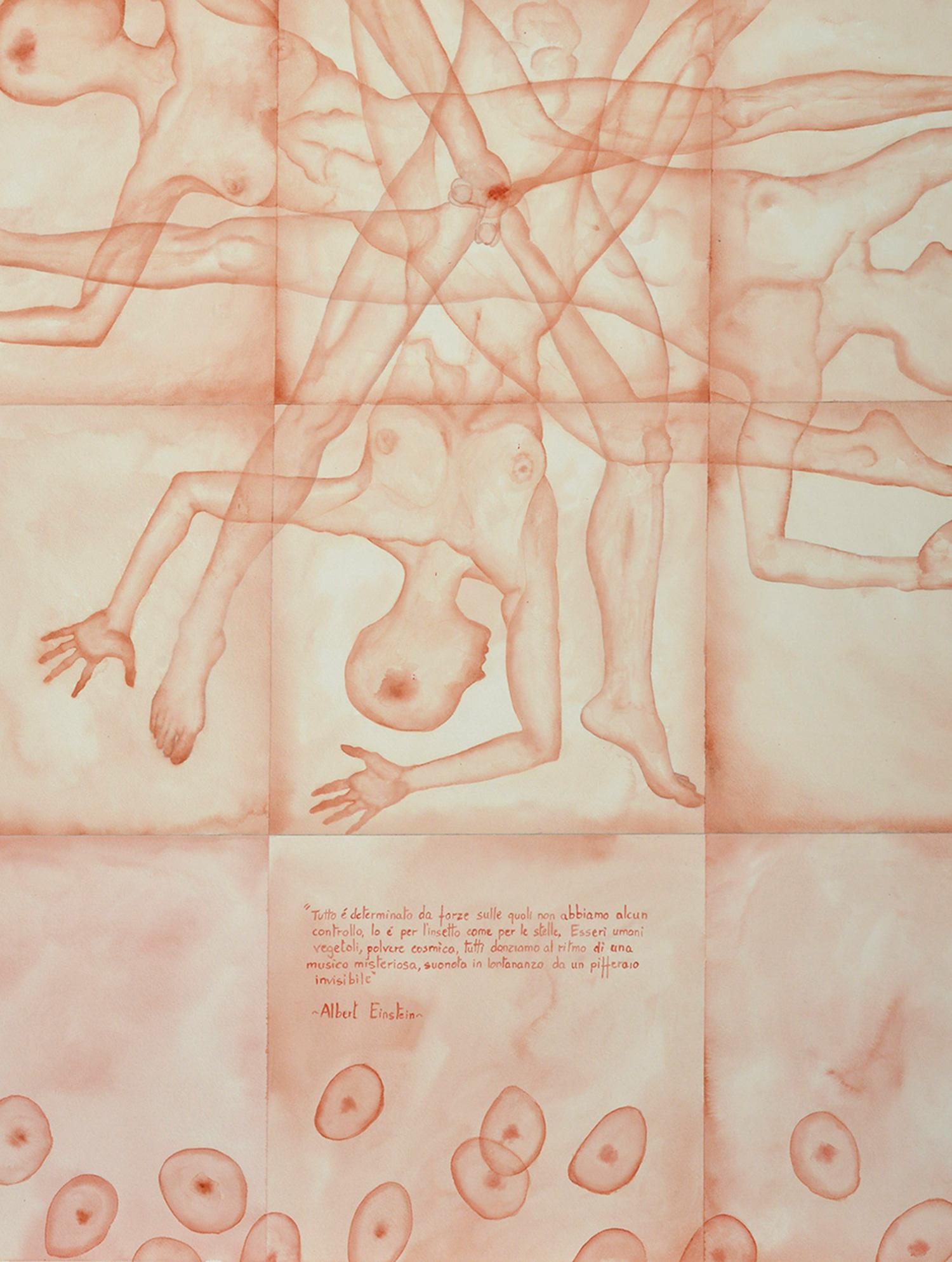 Stefano Bonzano, Forze emotive 02, acquerello su carta applicato su due pannelli, 2019 (dettaglio).