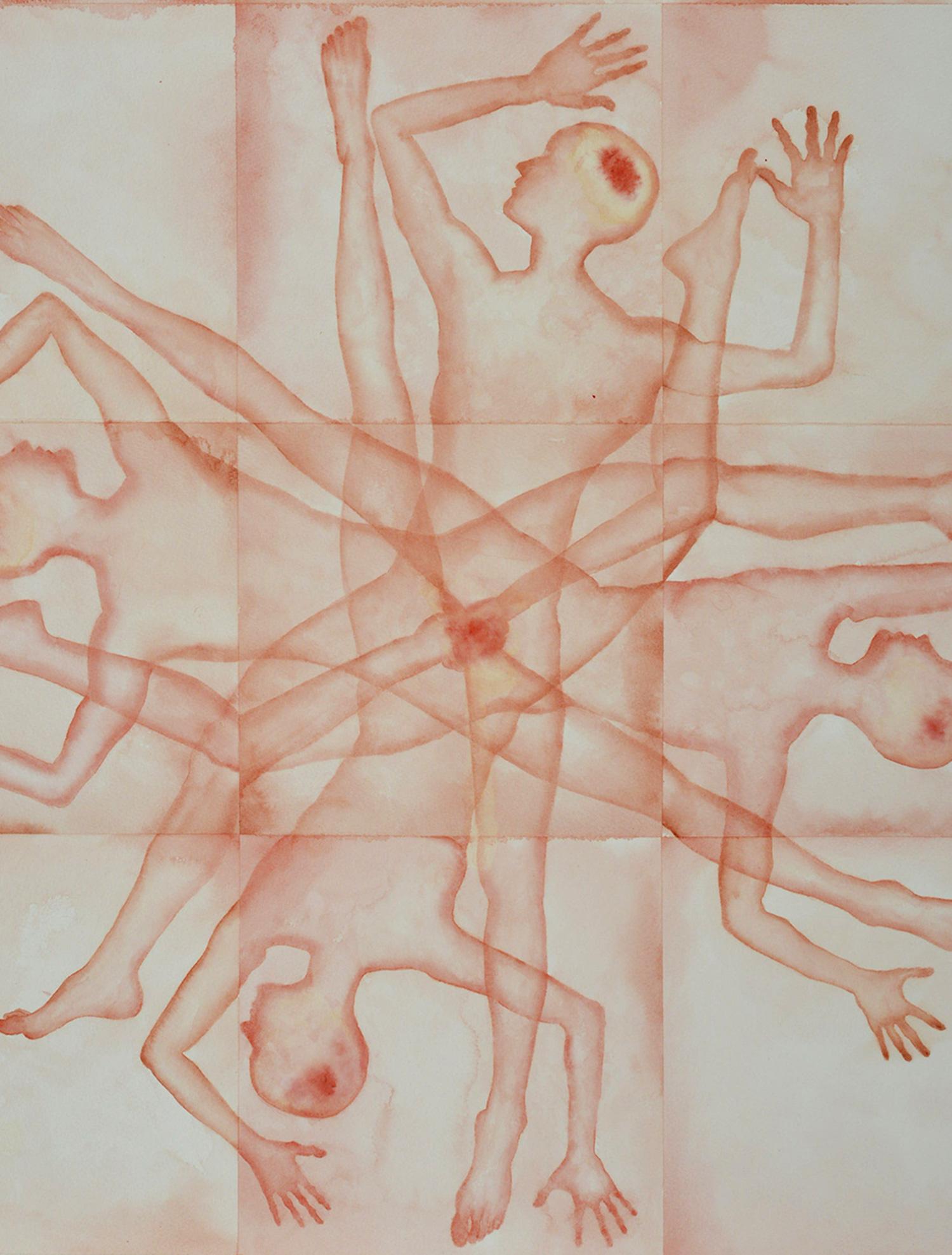 Stefano Bonzano, Forze emotive 01, acquerello su carta applicato su due pannelli, 50x69 cm, 2019 (dettaglio).