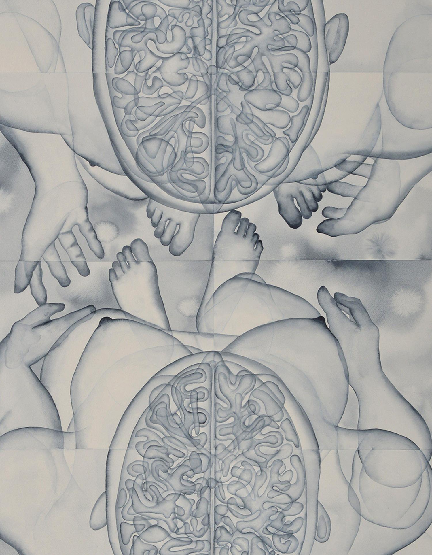 Stefano Bonzano, Fisiognomica sentimentale, acquerello su carta applicato su due pannelli, 84,5x112 cm, 2019 (dettaglio).