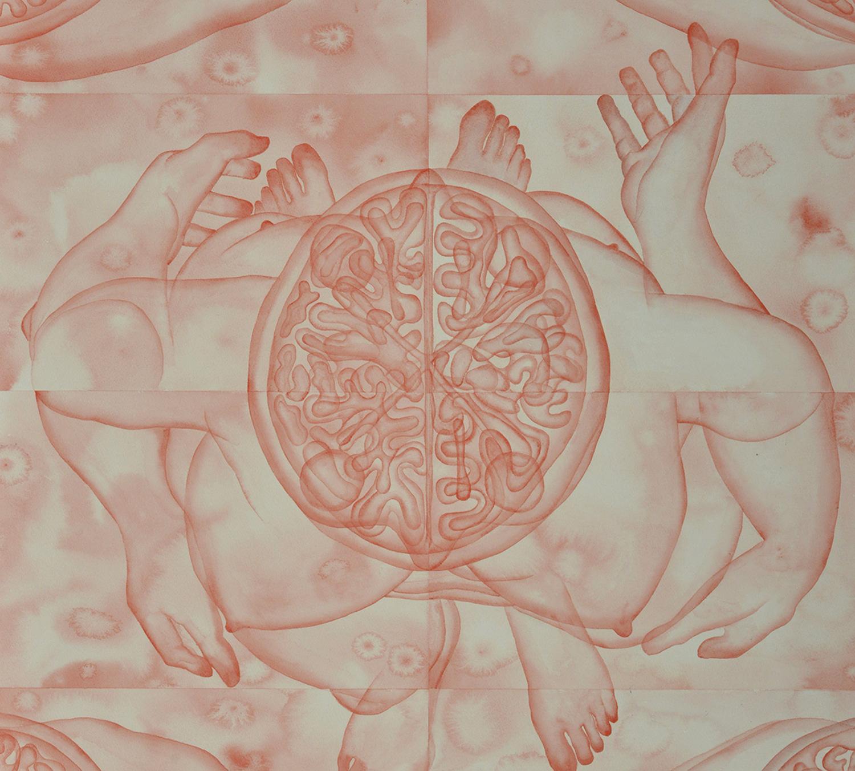 Stefano Bolzano, Evoluzione sentimentale, acquerello su carta applicato su due pannelli, 84x111 cm, 2019 (dettaglio).