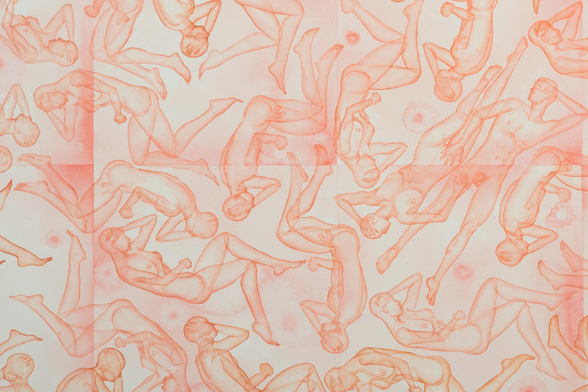 Stefano Bonzano, Omeostasi emotiva, acquerello su carta applicato su due pannelli, 65x105 cm, 2019 (dettaglio).