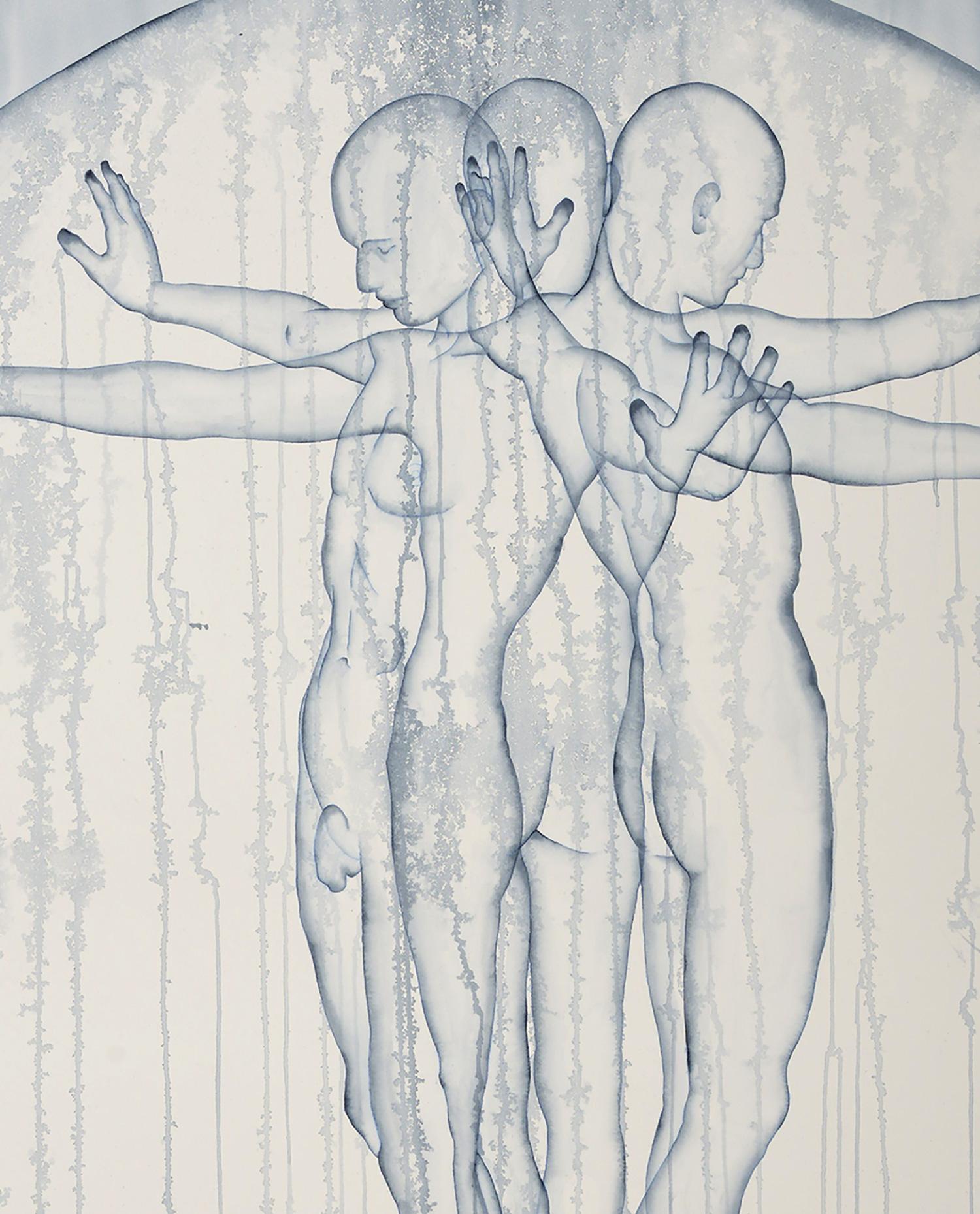 Stefano Bolzano, Aurea emotiva, acquarello su carta, 86x135 cm, 2020 (dettaglio).
