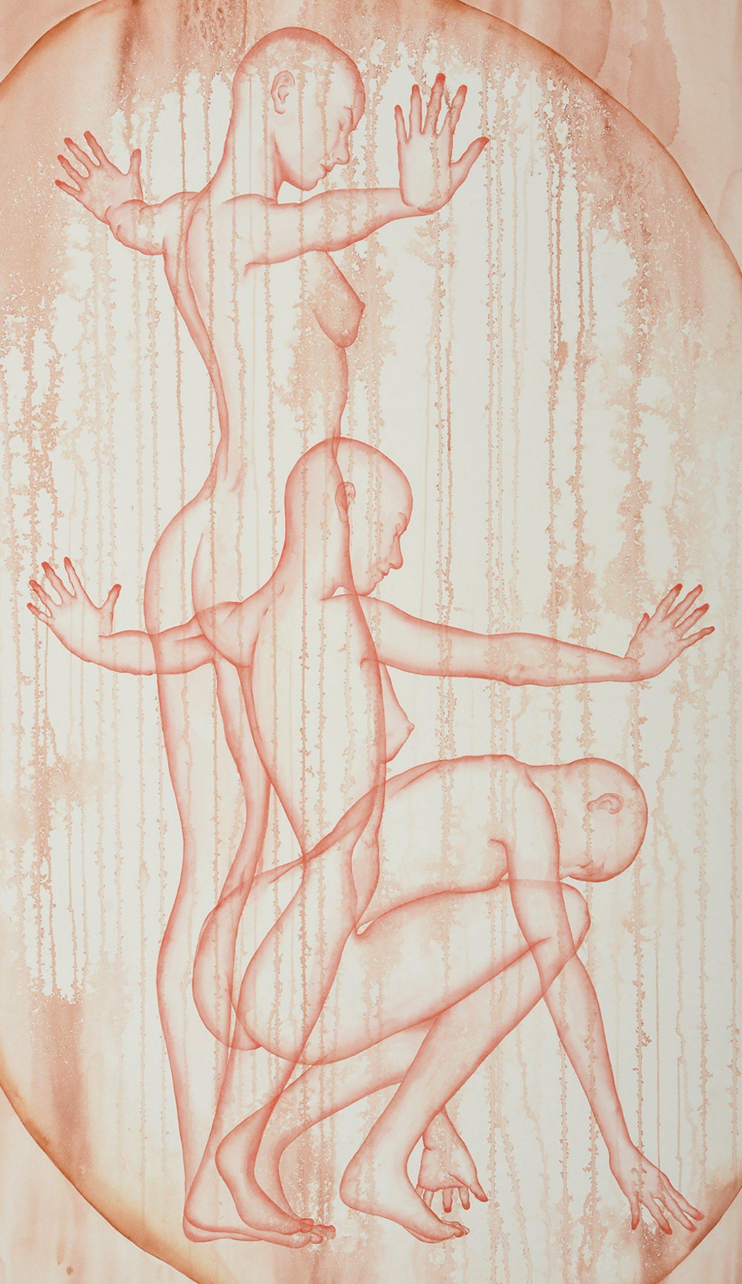 Stefano Bolzano, Aura sentimentale, watercolor on paper, 90x145 cm, 2020 (detail).