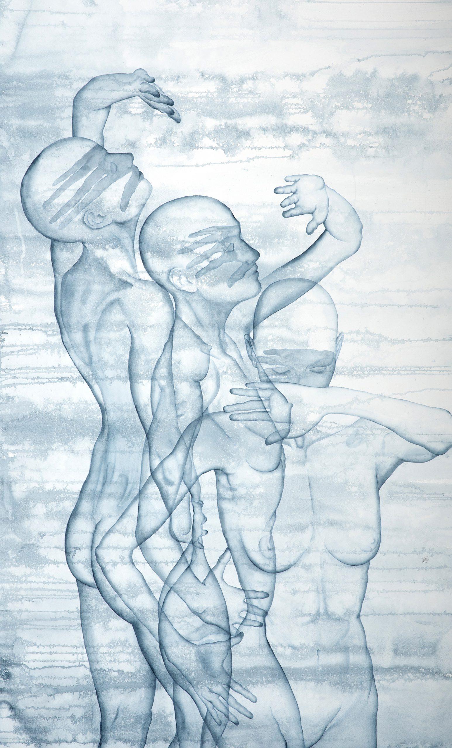 Stefano Bolzano, Helianthus, acquerello su carta, 90x150 cm, 2020.