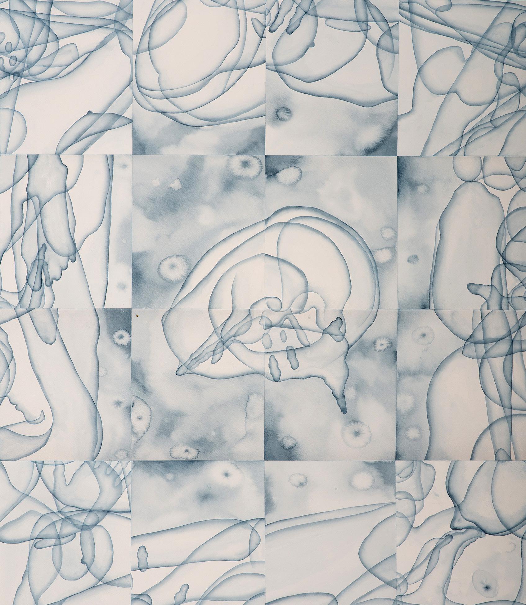 Stefano Bolzano, Eterogenesi e metamorfosi 02, acquerello su carta, 112x100 cm, 2020.