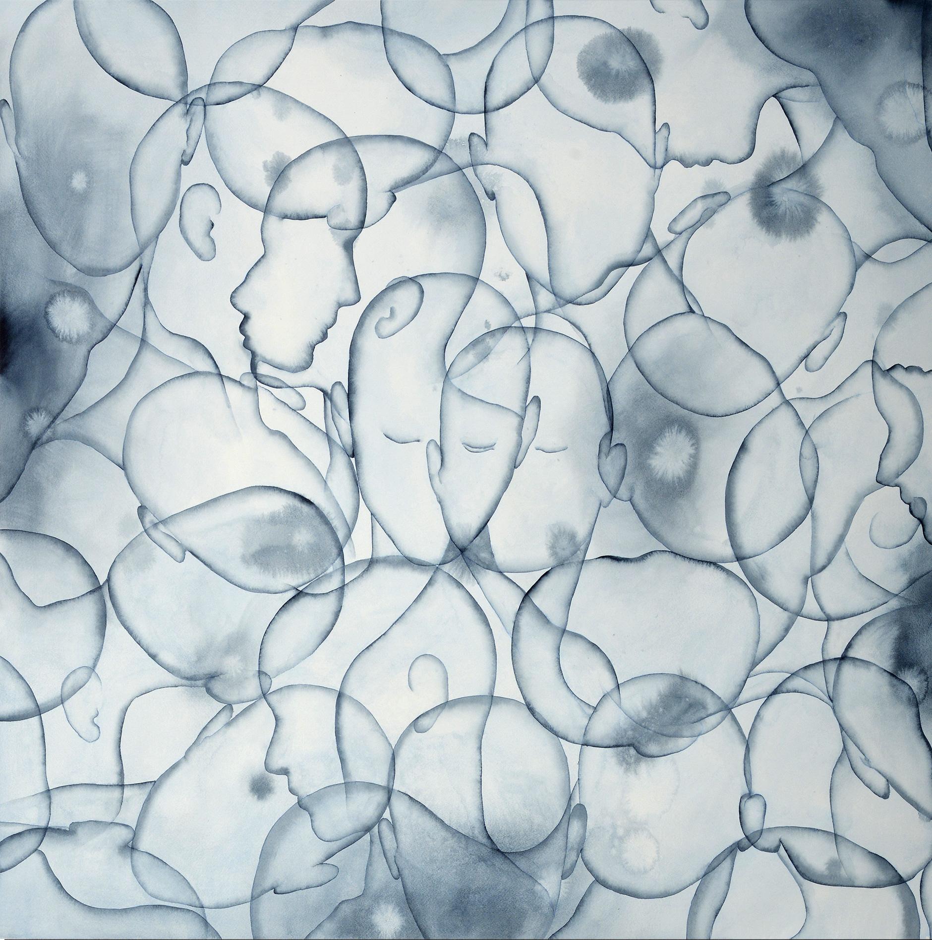 Stefano Bolzano, Coesistendo, acquerello su carta, 88,5x81,5 cm, 2020.