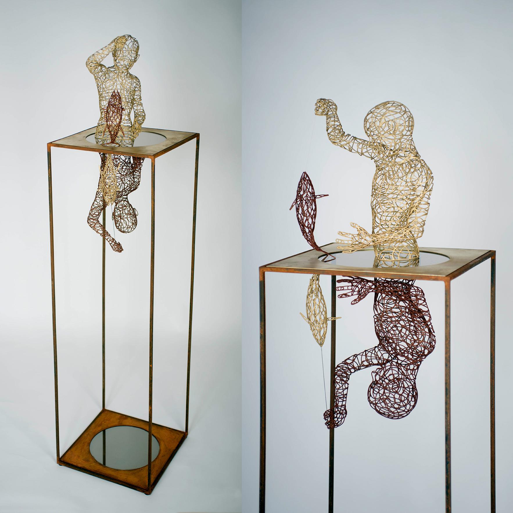 Bonzanos A.G., Al di qua e al di là, Scultura in filo SLS Duraform, realizzata con stampante 3D, 174x42x42 cm, 2017. Collezione privata.