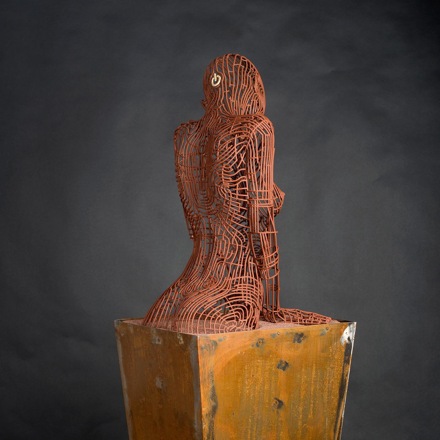 Bonzanos A.G., On-Off, Scultura in filo SLS Duraform, realizzata con stampante 3D, 167x50x40 cm, 2018. Collezione privata.