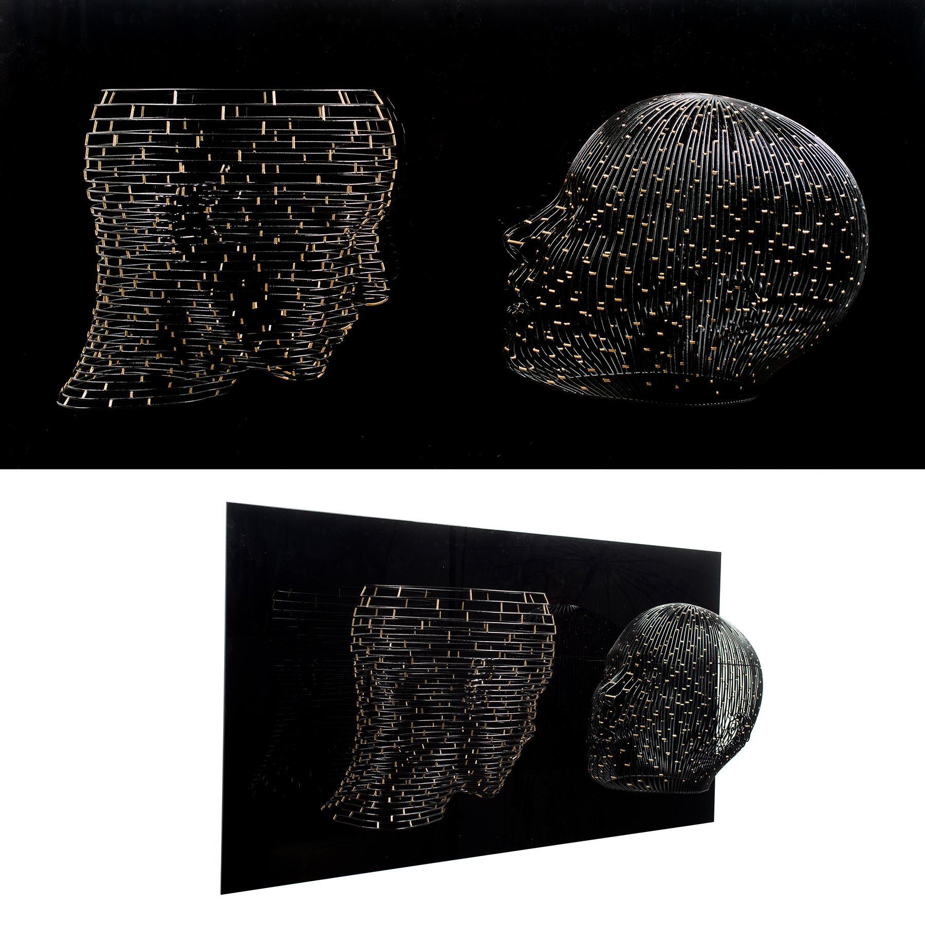 Bonzanos A.G., Quando parli ad occhi chiusi, sogno ad occhi aperti, Scultura in filo SLS Duraform, realizzata con stampante 3D, 70x135x35 cm, 2018.
