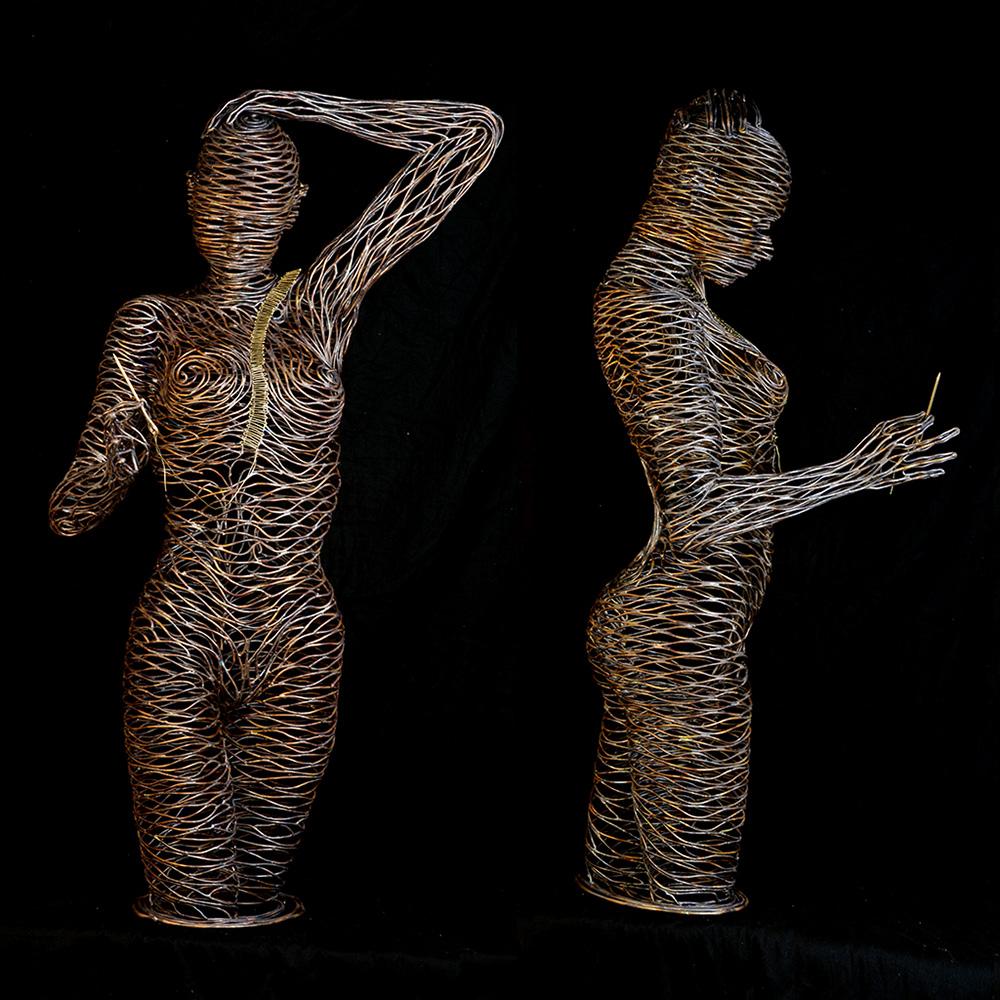 Bonzano Stefano, Ricucirsi, Scultura in tubolare di rame saldato a mano, 122x67x64 cm, 2016.