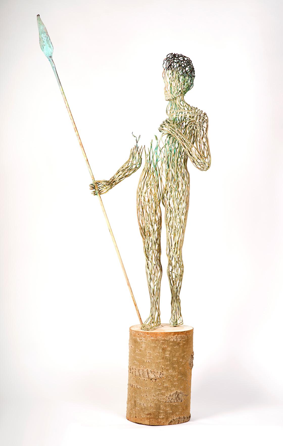 Bonzano Stefano, Terra, Scultura in tubolare di rame saldato a mano, 218x100x60 cm, 2015.
