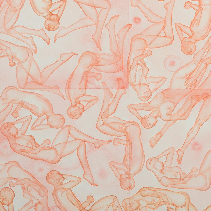 Stefano Bonzano, Reazioni biologiche, watercolor on paper applied on two panels, 110x73 cm, 2019.