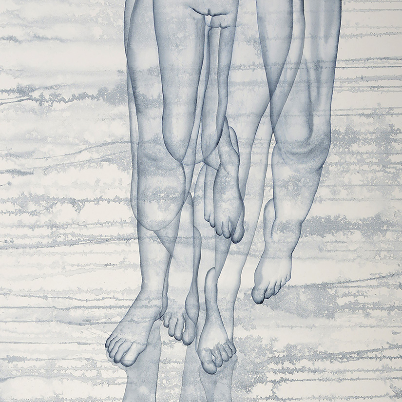Stefano Bolzano, Stacco, watercolor on paper, 150x90cm, 2020 (detail).