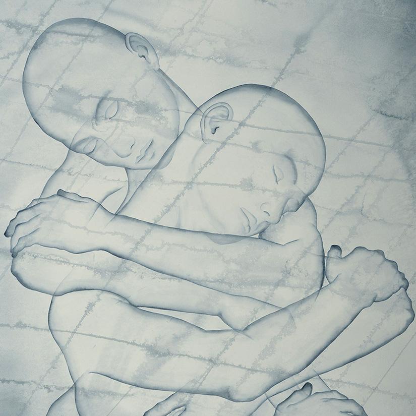 Stefano Bolzano, Colonna, watercolor on paper, 98.5x111 cm, 2020 (detail).