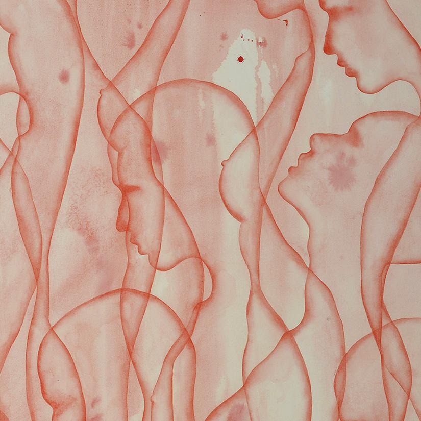 Stefano Bolzano, Co-esistenza sociale, watercolor on paper, 81x81 cm, 2020 (detail).