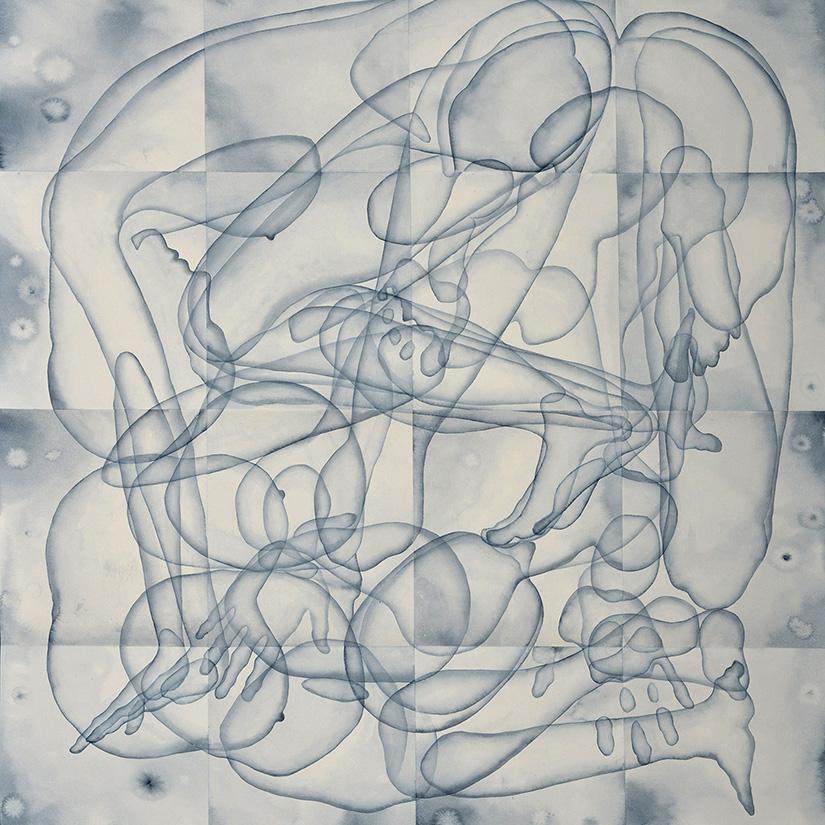 Stefano Bolzano, Eterogenesi e metamorfosi 01, watercolor on paper applied on two panels, 110.5x95 cm, 2020 (detail).