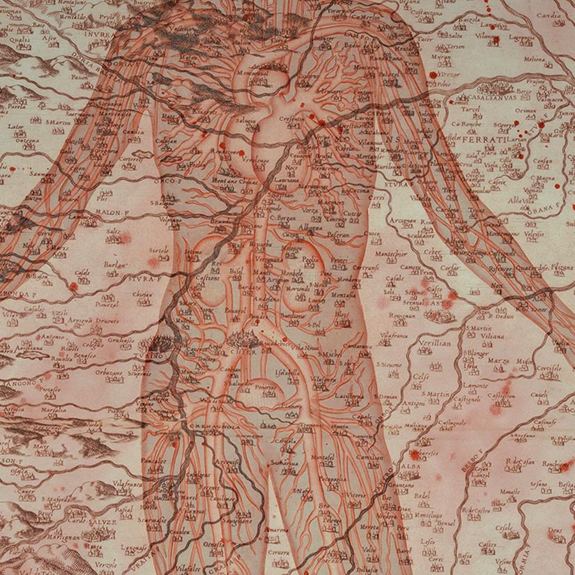 Stefano Bolzano, Di questa terra, watercolor on paper applied on two panels, 104x106 cm, 2020 (detail).