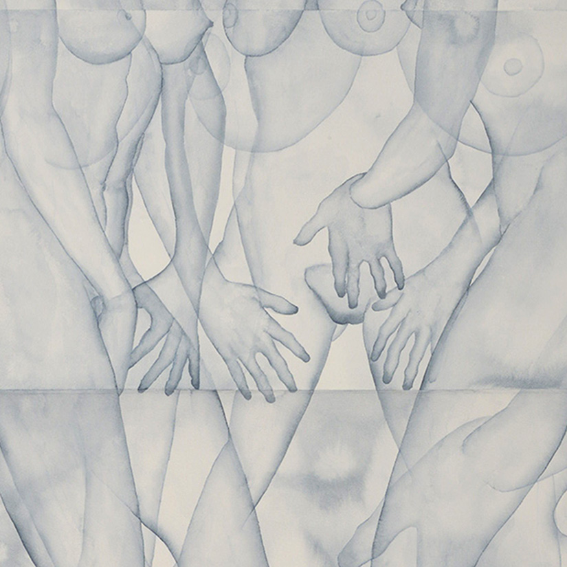 Stefano Bonzano, Mani, watercolor on paper applied on two panels, 110x130 cm, 2019 (detail).