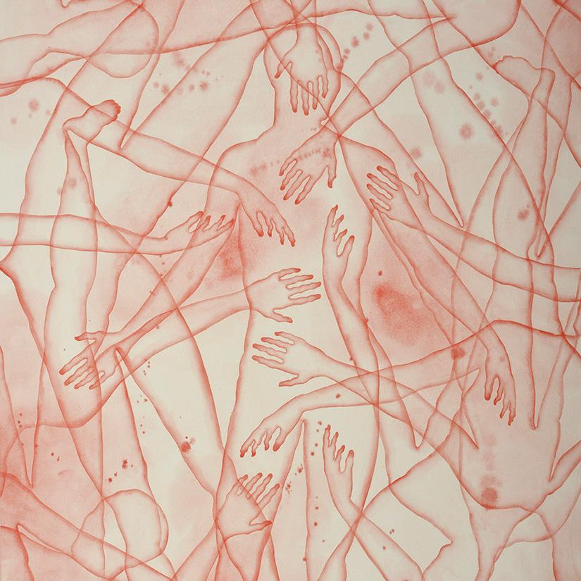 Stefano Bolzano, Co-esistenza sentimentale, watercolor on paper, 86x135 cm, 2020 (detail).