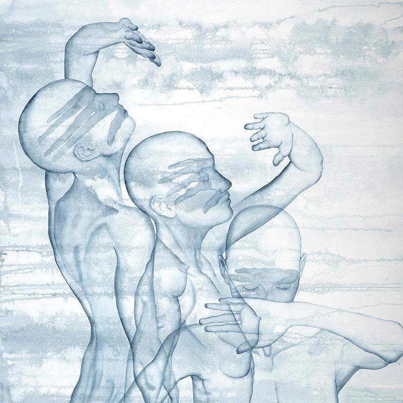 Stefano Bolzano, Helianthus, watercolor on paper, 90x150 cm, 2020.