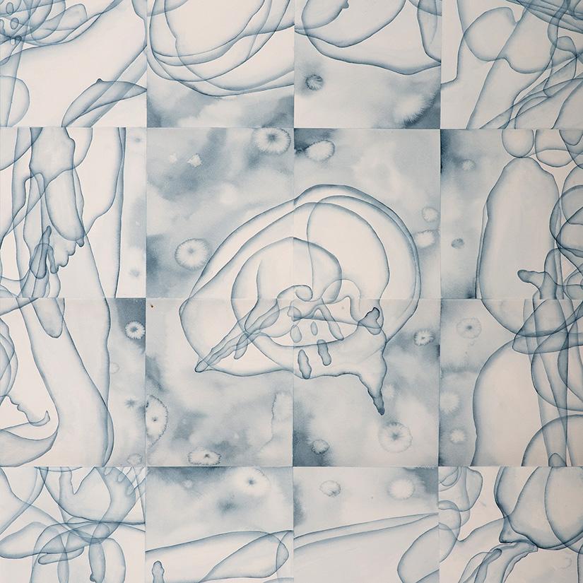 Stefano Bolzano, Eterogenesi e metamorfosi 02, watercolor on paper, 112x100 cm, 2020.