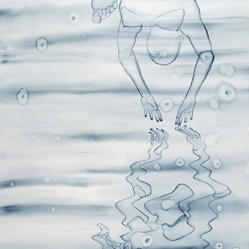 Stefano Bolzano, Riflettendo prima di immergersi, watercolor on paper, 110x237 cm, 2020.