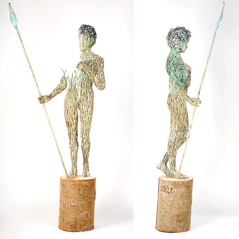 Bonzano Stefano, Terra, Hand-welded copper tubular sculpture, 218x100x60 cm, 2015.