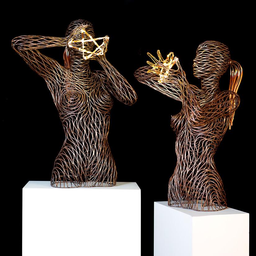 Bonzanos A.G., Stella, Hand-welded copper tubular sculpture, 65x90x61 cm, 2017.