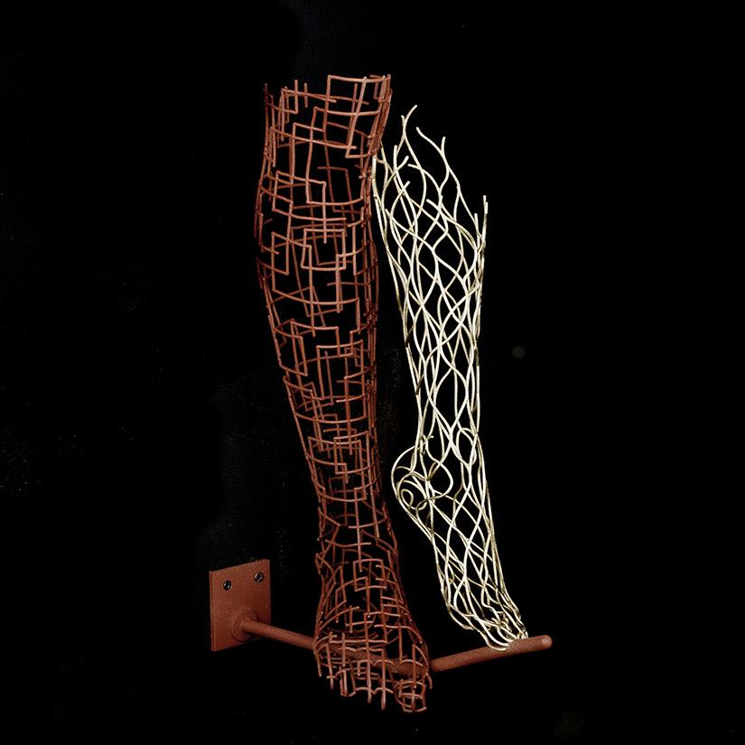 Bonzanos A.G., Equilibristi, SLS Duraform wire sculpture, made with 3D printer, 1447x12,5x30,5 cm, 2017. Private collection.