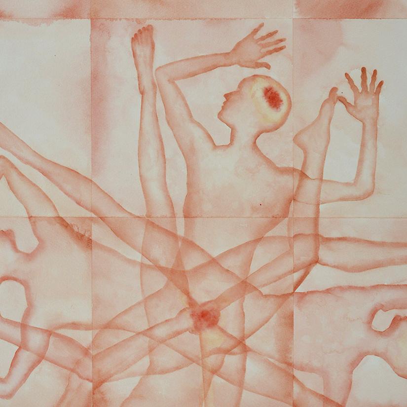 Stefano Bonzano, Forze emotive 01, watercolor on paper applied on two panels, 50x69 cm, 2019 (detail).