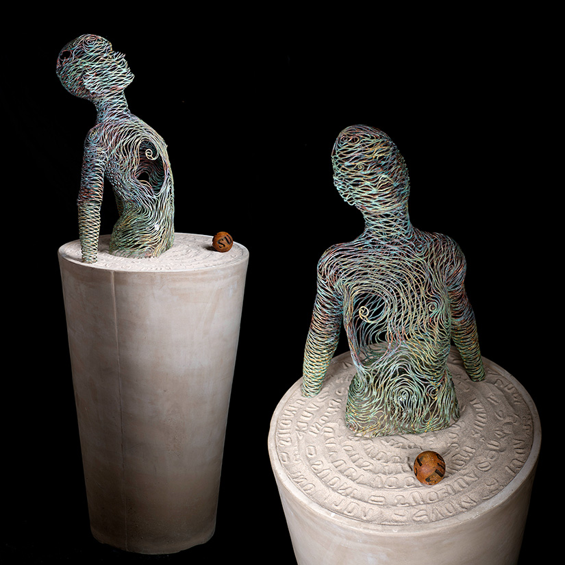 Bonzanos A.G., Sete di vivere, Hand-welded copper tubular sculpture, 172x64x65 cm, 2017. Private collection.