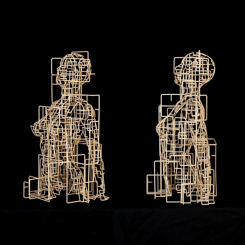 Bonzanos A.G., Metropolis, Duraform SLS wire sculpture, made with 3D printer, 40x23x18.5 cm, 2017.