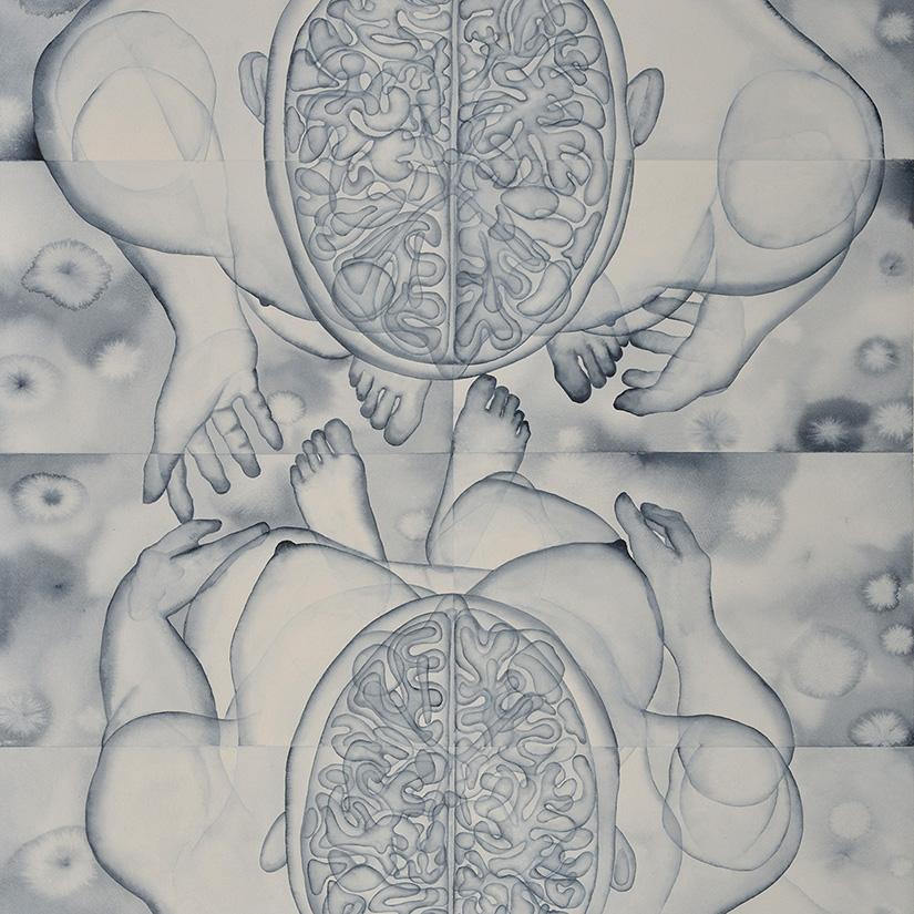 Stefano Bonzano, Fisiognomica sentimentale, watercolor on paper applied on two panels, 84.5x112 cm, 2019 (detail).