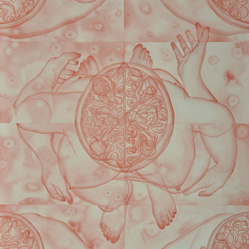 Stefano Bolzano, Evoluzione sentimentale, watercolor on paper applied on two panels, 84x111 cm, 2019 (detail).